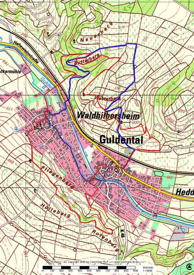 Karte Guldentaler Weinwanderweg